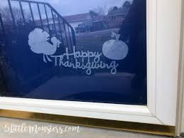5 monsters thanksgiving window cling decoration