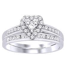 heart bridal rings images 3 8 ct tw halo design heart shape diamond bridal set jeweler 39 s jpg