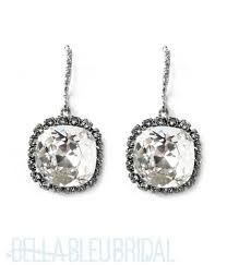 bridal drop earrings haute cushion cut swarovski drop earrings bridal earrings
