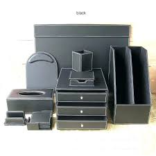 Desk Organizer Sets Black Leather Desk Organizer Faux Office Document Tray Interque Co