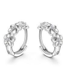 silver earring top sale 925 sterling silver earring woven flowers shape hoop