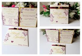 Folded Invitation Card Yellow Blossom Designs Floral Hearts Collection Diamantes