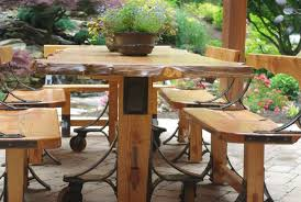 Farmhouse Patio Furniture Hand Crafted Live Edge Industrial Farmhouse Table With Breadboard