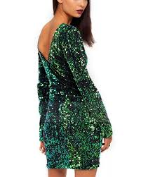 green dress shining green sleeve v back dress dr0150479