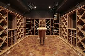 butcher block wine cellar with wood table stock photo picture and