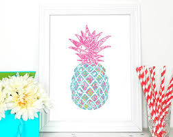 Pineapple Home Decor Lilly Pulitzer Inspired Pineapple Print Preppy Pineapple
