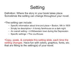 place setting template fiction book project presentation template