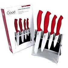 amazon com ceramic knife set with block 5 pc cutlery ceramic