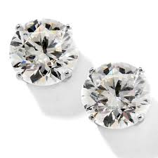 silver stud earrings absolute 6ctw cubic zirconia 4 prong sterling silver stud