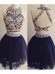 blue graduation dresses two pieces navy blue beaded lace appliques prom homecoming