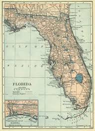 Map Florida Keys by Florida Map Digital Download At 300dpi Of Vintage State Map