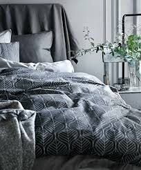 Quilted Duvet Cover King Modern Geo Leaf Block Print Cotton Quilt Duvet Cover Shadow Grey