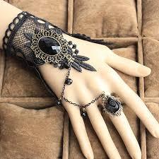 european bracelet chain images Gothic style black lace european bracelet with chain and floral ring jpg