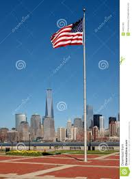 Standing Flag Banners American Flag Standing Tall In Liberty State Park Nj With View