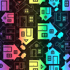 House Silhouette by House Silhouette And Outline Seamless Pattern Vector Image