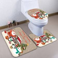 Christmas Bathroom Rugs Santa Claus 3pcs Christmas Bathroom Toilet Mats Set Blue In Bath
