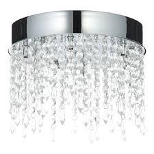 B Q Kitchen Lighting Sabine Crystal Droplets Clear 6 Lamp Flush Ceiling Light