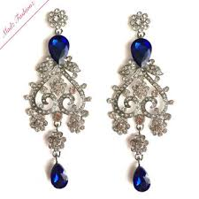 blue chandelier earrings antique gold royal blue bridal chandelier from madzfashionzuk on