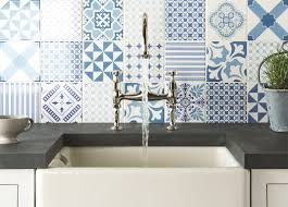 various patterned tiles for kitchen backsplash in blue and white