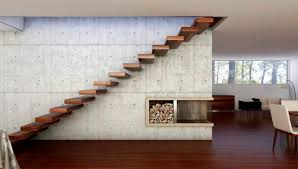Floating Stairs Design Decorations Adorable Open Living Room With Wall Panels Also