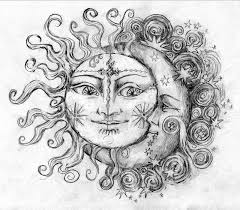 celestial sun and moon drawing clipartxtras