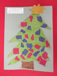 teacher ink christmas card craft torn paper art tree