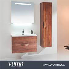 modern brown unfinished wooden bathroom cabinet with sliding door