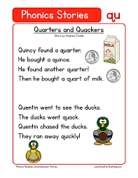reading comprehension worksheet quarters and quackers
