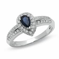 sapphire accent engagement rings pear shaped blue sapphire vintage style engagement ring in 10k