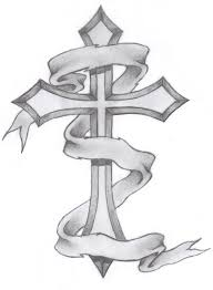 drawn tattoo cross pencil and in color drawn tattoo cross