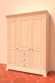 White Wardrobe Cabinet White Wooden Timber 3 Doors 2 Drawers Bedroom Wardrobe Cabinet