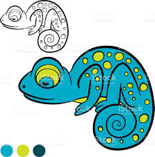 coloring page color me chameleon little cute blue chameleon stock