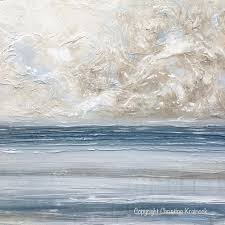 blue and white painting original art abstract blue white painting textured coastal wall