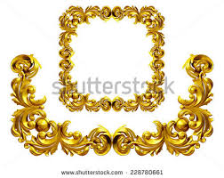royalty free golden frame with baroque ornaments in 228650944