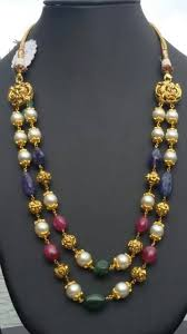 colored beaded necklace images Antique gold multi color beads malas boutiquedesignerjewellery jpg