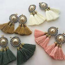 thread earrings earrings jewelry i tassels silk thread and