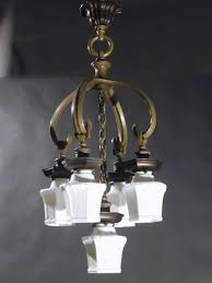 Art Nouveau Chandelier Genuine Antique Lighting 5 Light Art Nouveau Chandelier
