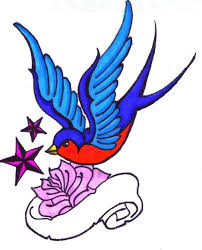 colorful barn swallow with rose and star tattoo design by renee