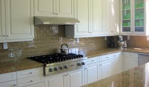 Kitchen White Wooden Kitchen Cabinet With Glass Subway Back - Brown subway tile backsplash