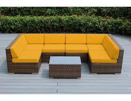 Colorful Wicker Patio Furniture Sunbrella Sunflower Yellow With Mixed Brown Wicker Ohana Deep