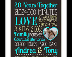 20 year wedding anniversary 20th anniversary etsy