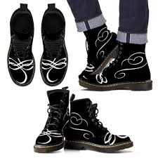 stylish motorcycle boots black boots with white scroll work stylish and designer only