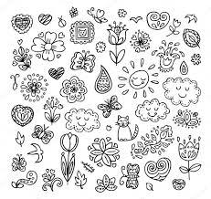 spring doodles set hand draw flowers sun clouds butterflies