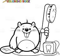 beaver holding a toothbrush and dental floss coloring book page