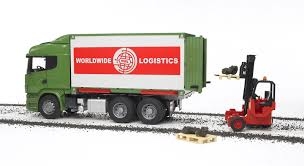 bruder toys logo bruder toys scania r series cargo truck with forklift attached ebay
