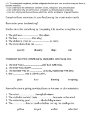 similes metaphors and personification sheets by miss n