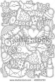Coloring Book Page Adult Fashion Patch Stock Vector 498055783 80s Coloring Pages