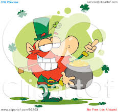 royalty free rf clipart illustration of a leprechaun holding a