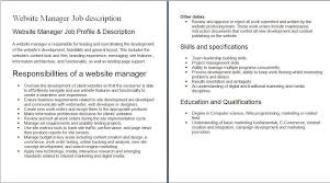 Maintenance Job Description Resume by Job Description Animator Animator Fresher Resume Template Artist