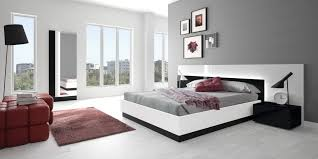 amazing contemporary bedroom design with black and white furniture
